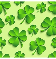 Seamless pattern with 3d Patricks clover vector image