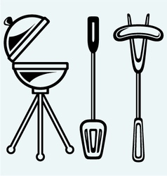 Set of bbq objects vector image vector image
