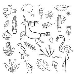 set of doodles images vector image vector image
