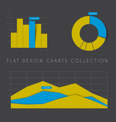 Set of flat design statistics charts and graphs vector