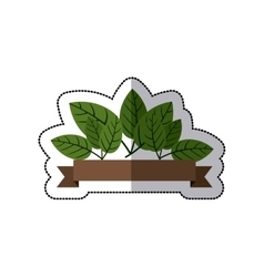 Sticker with green leaves and label vector