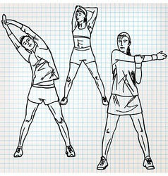 Stretching exercises sketch vector image vector image