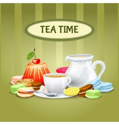 Tea time poster vector
