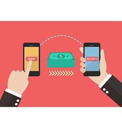 Transfer money by smart phone vector