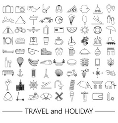 Travel and holiday big set of outline icons eps10 vector