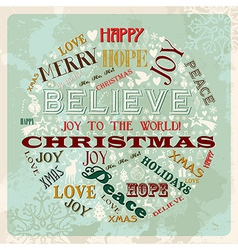Vintage merry christmas concept circle vector