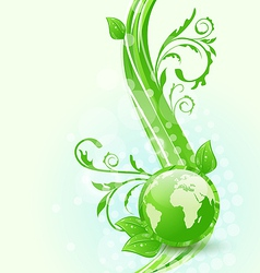 Wavy background with global planet and eco green vector image vector image