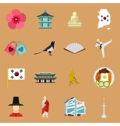 South korea icons set flat style vector