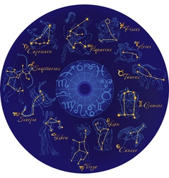 Zodiac with constellations and zodiac signs vector image