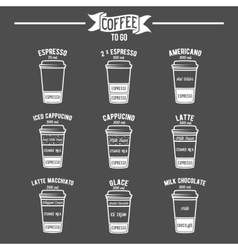 Hot coffee to go drinks recipes icons set vector