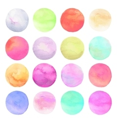 set drawn watercolor Isolated colorful vector image