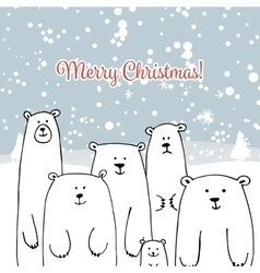 Christmas card with white bears family vector image