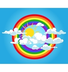 Circle rainbow and clouds blue sky vector