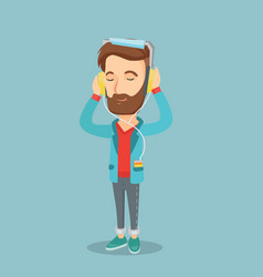 Young man in headphones listening to music vector