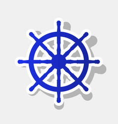 ship wheel sign  new year bluish icon with vector image