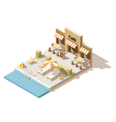 Isometric low poly swimming pool and cafe vector