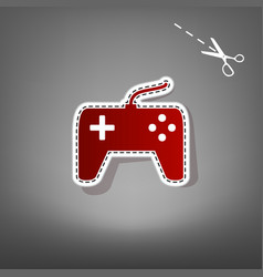 Joystick simple sign  red icon with for vector