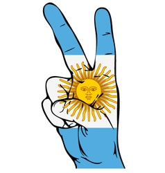 Peace sign of the argentinean flag vector
