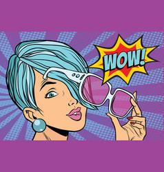 Sunglasses pop art woman wow reaction vector