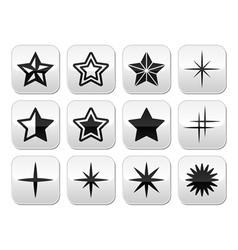 Stars christmas celebration buttons set vector