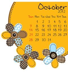2012 october calendar vector image vector image