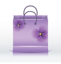 Violet paper shopping bag vector