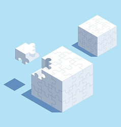 Puzzle Cube with one Piece Out vector image