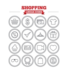 Shopping linear icons set thin outline signs vector