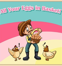 All your eggs in basket vector