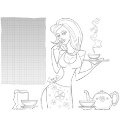 Contour drawing woman with a tea set and a blank vector
