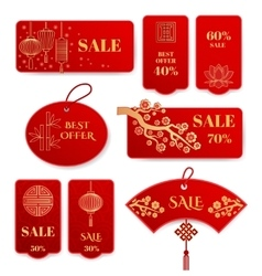 Sale banners and badges for chinese new year vector