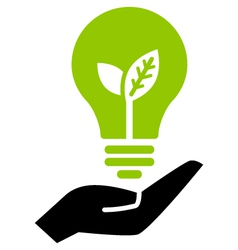Green ecology bulb on hand vector image