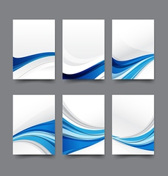 Abstract background collection of curve wave blue vector