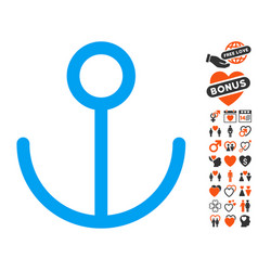 Anchor icon with valentine bonus vector