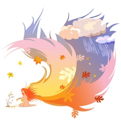 Autumn angel vector image