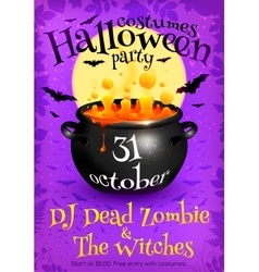Bright purple Halloween party poster template with vector image vector image