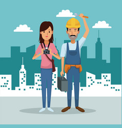 City landscape background with full body couple vector