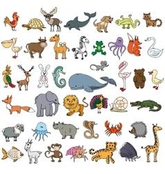 Color doodle animals sketch vector image vector image