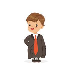 cute boy wearing dult oversized suit kid vector image vector image