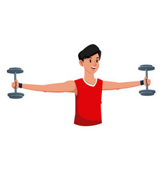 Fitness man weight gym workout vector