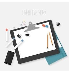 Flat design mockup per creative workspace vector