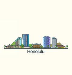 flat line honolulu banner vector image vector image