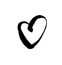 Grunge black heart symbol vector