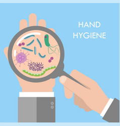 Hand germs under magnifier glass vector