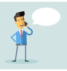 Handsome asian american manager talking on phone vector