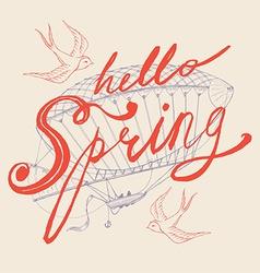 Hello spring banner vector