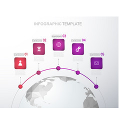 infographic template with five stripes and icons vector image vector image