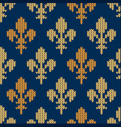 Knitted woolen pattern with golden royal lilies vector