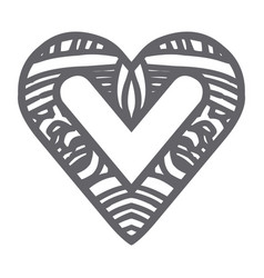 Monochrome silhouette abstract heart shape with vector