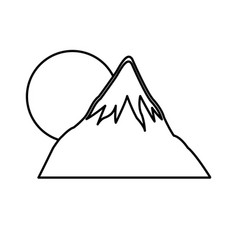 Mount fuji japan sun landscape natural line vector